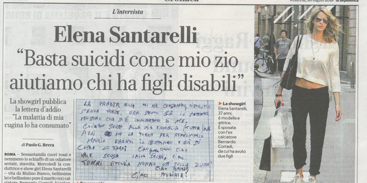 L'intervista ad Elena Santarelli (La Repubblica, 26, Luglio 2019)