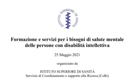 """Registrazione webinar """"Formazione e servizi per i bisogni di salute mentale delle persone con disabilità intellettiva"""""""